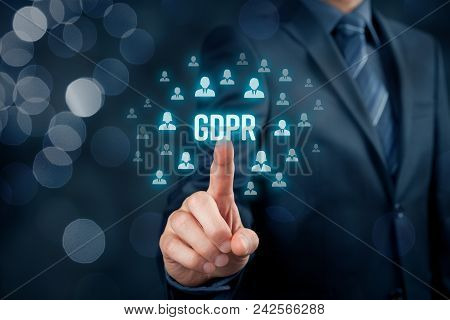 Gdpr (general Data Protection Regulation) Concept. Businessman Or It Technologist Click On Text Gdpr