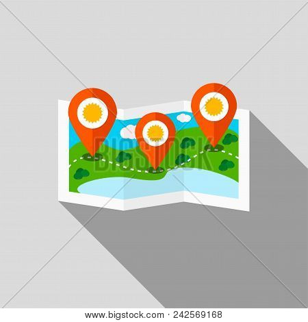 Ecotourism Colorful Vector Illustration. Gps Pins At Travel Map.