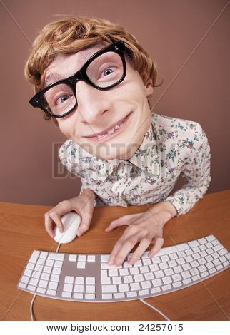 Funny guy at the computer