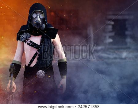 3d Rendering Of A Man Wearing A Gas Mask And Holding A Rifle In A Futuristic Dystopian World. Smoke