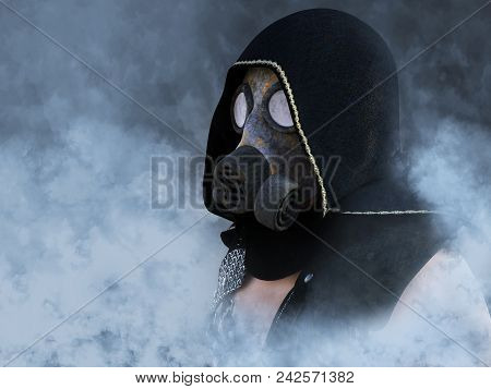 3d Rendering Of A Man Wearing A Gas Mask Surrounded By Smoke In A Polluted Futuristic Dystopian Worl