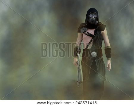 3d Rendering Of A Man Wearing A Gas Mask And Holding A Rifle In A Polluted Futuristic Dystopian Worl