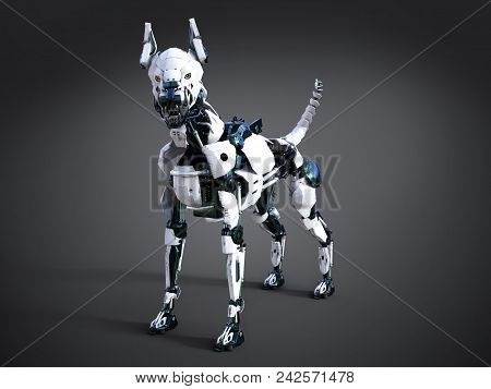 3d Rendering Of A Futuristic Mean Looking Robot Dog. Dark Background.