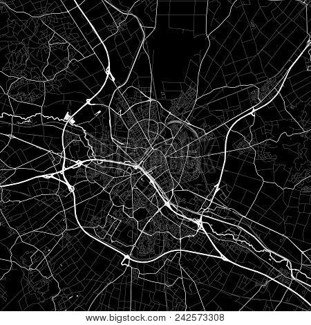 Area Map Of Reims, France. Dark Background Version For Infographic And Marketing Projects. This Map
