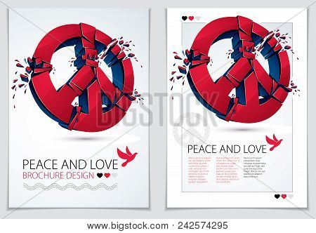 Peace Symbol Breaking To Pieces Vector 3d Realistic Illustration And Flyer, Broken Peace, Antiwar Me