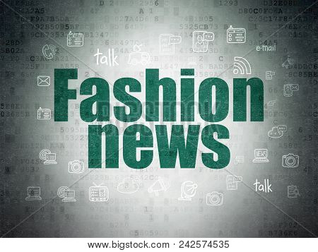 News Concept: Painted Green Text Fashion News On Digital Data Paper Background With  Hand Drawn News