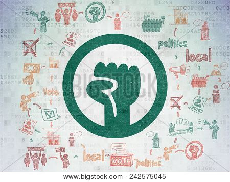 Politics Concept: Painted Green Uprising Icon On Digital Data Paper Background With Scheme Of Hand D