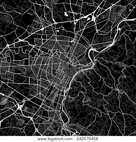 Area Map Of Turin, Italy. Dark Background Version For Infographic And Marketing Projects. This Map O