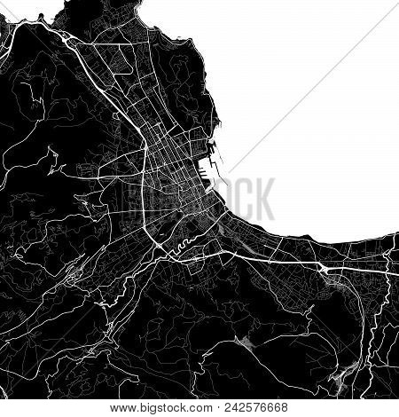 Area Map Of Palermo, Italy. Dark Background Version For Infographic And Marketing Projects. This Map