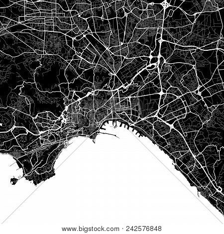Area Map Of Naples, Italy. Dark Background Version For Infographic And Marketing Projects. This Map