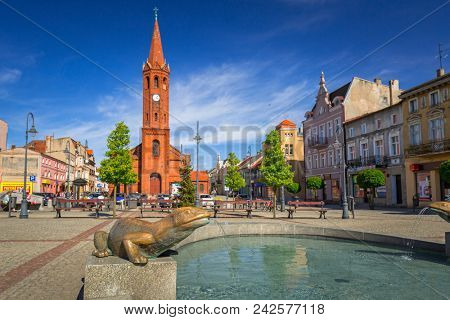 Wabrzezno, Poland - May 19, 2018: Architecture of the old town in Wabrzezno, Poland. Wabrzezno is a historical town found in 13th century in Poland.