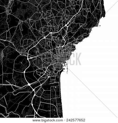 Area Map Of Catania, Italy. Dark Background Version For Infographic And Marketing Projects. This Map