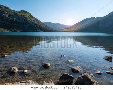 Alpine Mountain Lake Enol Near Covadonga. Lake In The Picos De Europa National Park, Spain, Asturias