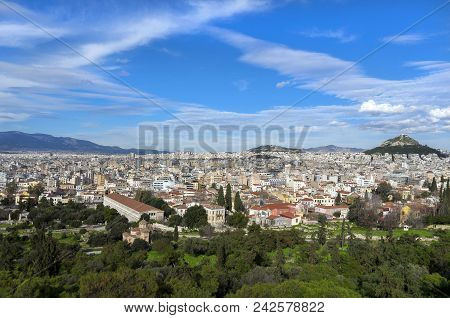 Athens, Greece. Panoramic View Of The City Of Athens As Seen From The Vantage Point Of Areopagus Hil