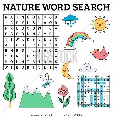 Nature Word Search Game For Kids. Vector Illustration For Learning English
