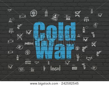 Political Concept: Painted Blue Text Cold War On Black Brick Wall Background With  Hand Drawn Politi