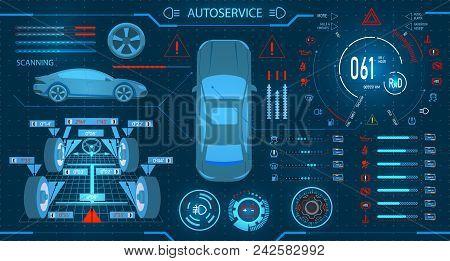Car Service. Scanning. Diagnostic Alignment Of The Wheels. Car Digital Car Dashboard. Graphic Displa