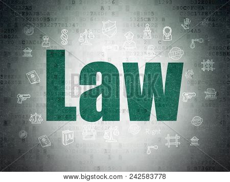 Law Concept: Painted Green Text Law On Digital Data Paper Background With  Hand Drawn Law Icons
