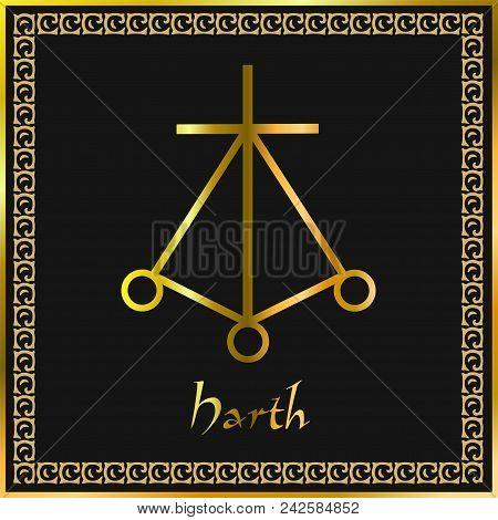 Karuna Reiki. Energy Healing. Alternative Medicine. Harth Symbol. Spiritual Practice. Esoteric. Gold