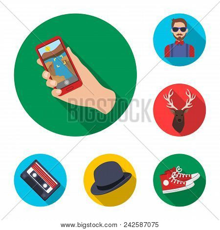 Style Hipster Flat Icons In Set Collection For Design. Hipster Attributes And Accessories Vector Sym