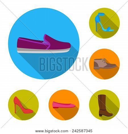 A Variety Of Shoes Flat Icons In Set Collection For Design. Boot, Sneakers Vector Symbol Stock  Illu