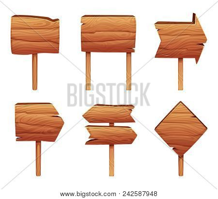 Wooden Direction Signs Isolate On White Background. Wood Board, Signboard Empty, Plank Signpost. Vec