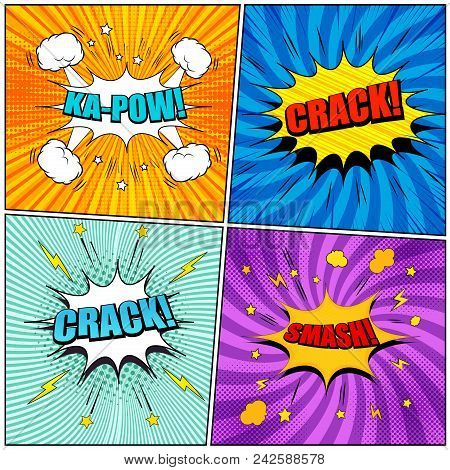 Comic Book Pages Set With Colorful Kapow Crack Smash Inscriptions Sound Halftone Radial Stars Lightn