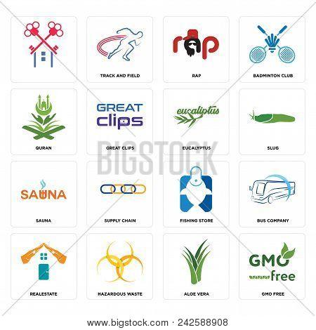Set Of 16 Simple Editable Icons Such As Gmo Free, Aloe Vera, Hazardous Waste, Realestate, Bus Compan