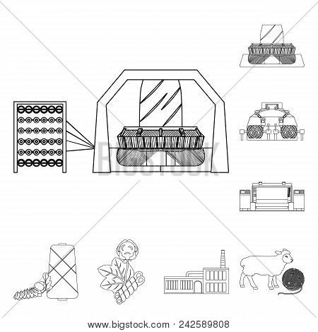 Textile Industry Outline Icons In Set Collection For Design.textile Equipment And Fabrics Vector Sym