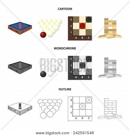 Board Game Cartoon, Outline, Monochrome Icons In Set Collection For Design. Game And Entertainment V