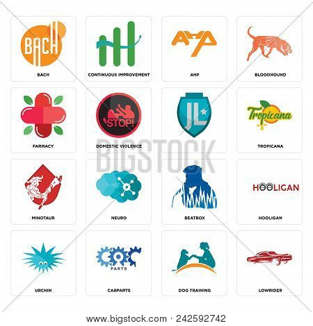 Set Of 16 Simple Editable Icons Such As Lowrider, Dog Training, Carparts, Urchin, Hooligan, Bach, Fa