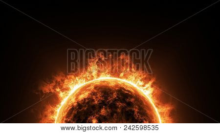 A Big Sun Surface With Solar Flares And Copy Space On Black Background, Global Warming Concept. Abst