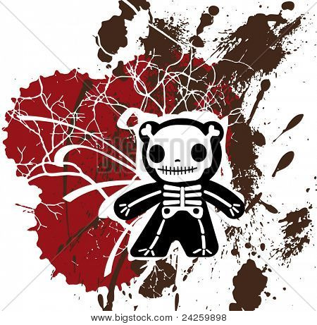 grunge background with teddy bones