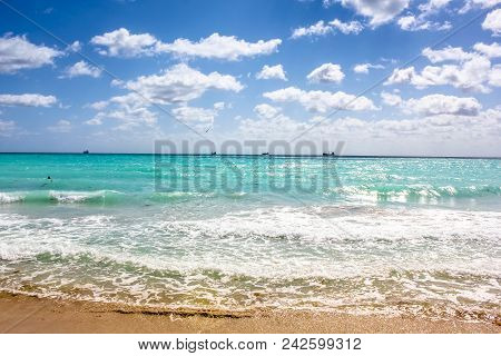 The South Beach Neighborhood Of Miami Beach In Florida. South Beach Is Famous For Its Tropical Sea,