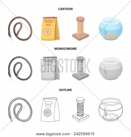 Leash, Feed And Other Zoo Store Products.pet Shop Set Collection Icons In Cartoon, Outline, Monochro