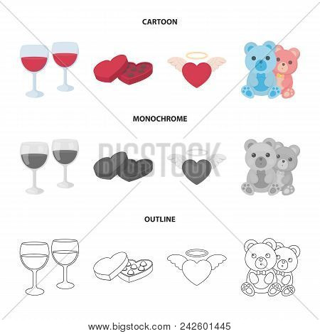 Glasses With Wine, Chocolate Hearts, Bears, Valentine.romantik Set Collection Icons In Cartoon, Outl