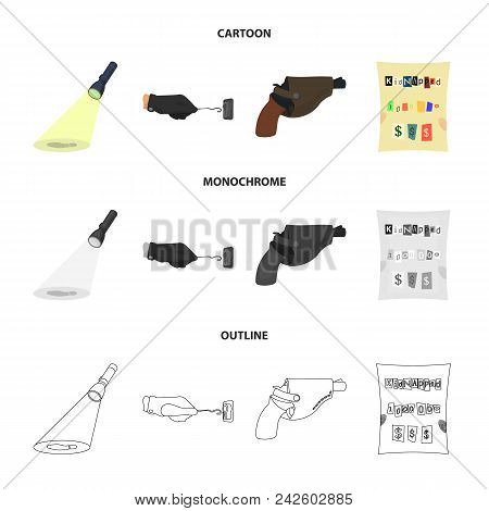 The Detective Flashlight Illuminates The Footprint, The Criminal Hand With The Master Key, A Pistol