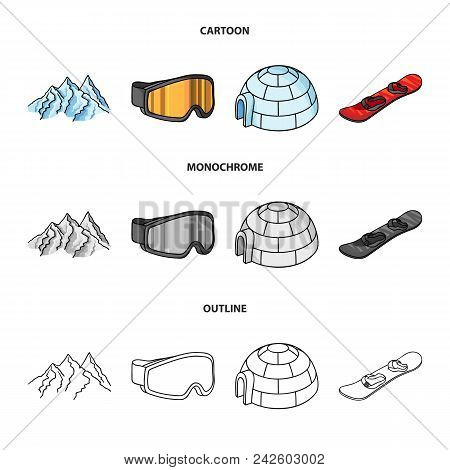 Mountains, Goggles, An Igloo, A Snowboard. Ski Resort Set Collection Icons In Cartoon, Outline, Mono