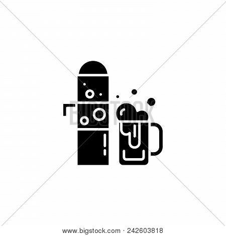 Draught beer black icon concept. Draught beer flat  vector website sign, symbol, illustration. poster