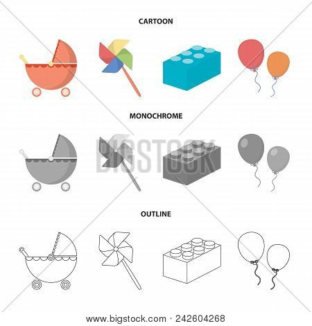 Stroller, Windmill, Lego, Balloons.toys Set Collection Icons In Cartoon, Outline, Monochrome Style V