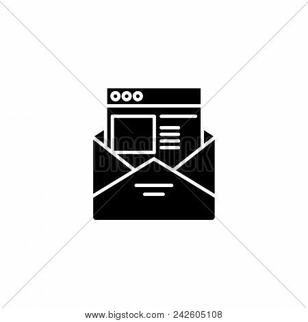 E-mail Black Icon Concept. E-mail Flat  Vector Website Sign, Symbol, Illustration.