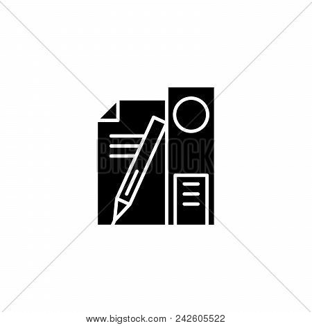 Educational Supplies Black Icon Concept. Educational Supplies Flat  Vector Website Sign, Symbol, Ill