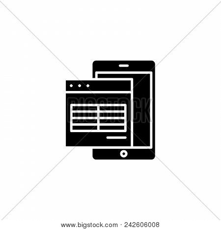 Electronic Table Black Icon Concept. Electronic Table Flat  Vector Website Sign, Symbol, Illustratio