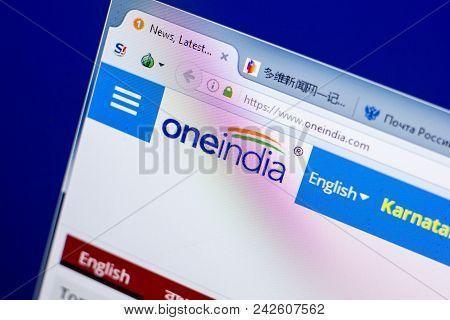 Ryazan, Russia - May 27, 2018: Homepage Of Oneindia Website On The Display Of Pc, Url - Oneindia.com