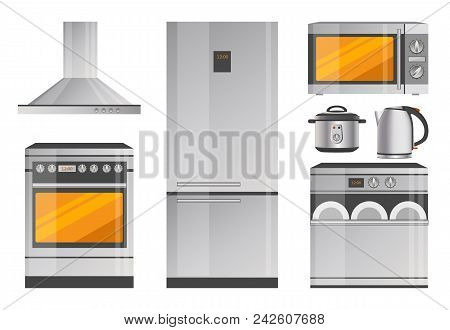Powerful Stove With Hood, Capacious Refrigerator, Dishwasher With Timer, Metallic Teapot, Modern Mul