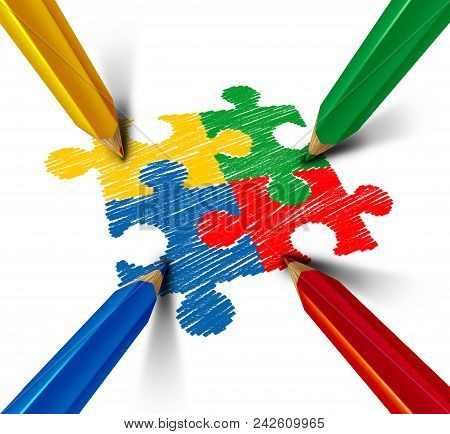 Autism Awareness Developmental Disorder Puzzle Children Symbol As An Autistic Symbol As Jigsaw Piece