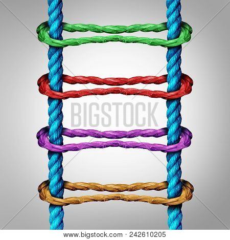 Ladder Connection As A Central Network Business Concept As A Group Of Diverse Ropes Connected To Par