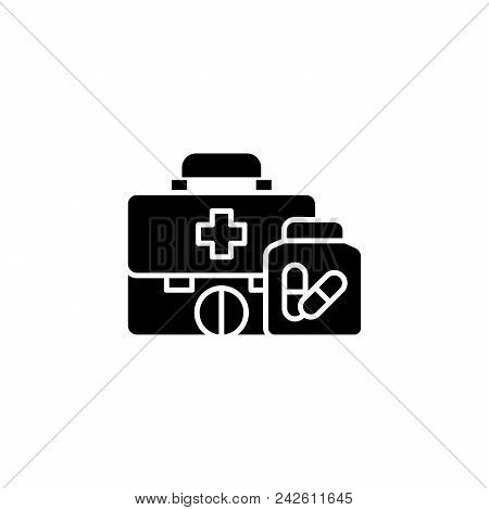 First Aid Kit Black Icon Concept. First Aid Kit Flat  Vector Website Sign, Symbol, Illustration.