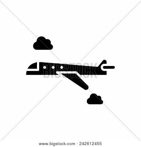 Flight By Plane Black Icon Concept. Flight By Plane Flat  Vector Website Sign, Symbol, Illustration.