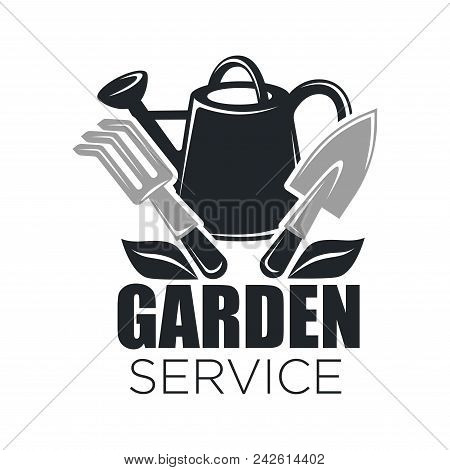Gardening Service Logo Template Of Garden Tools For Gardener Shop. Vector Isolated Icon Of Watering